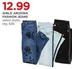 JCPenney Black Friday: Arizona Girls' Fashion Jeans, Select Styles for $12.99