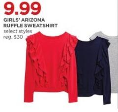 JCPenney Black Friday: Arizona Girls' Ruffle Sweatshirt, Select Styles for $9.99