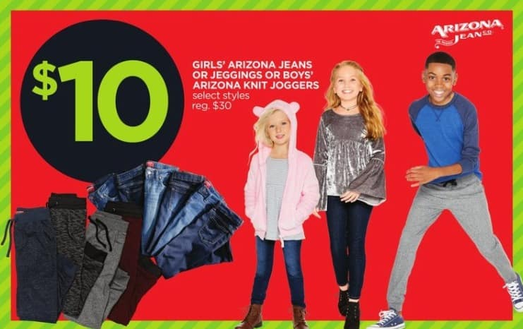 JCPenney Black Friday: Arizona Girls' Jeans or Boys' Knit Joggers, Select Styles for $10.00