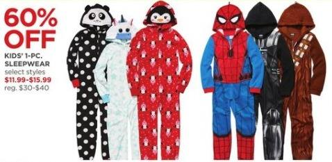 JCPenney Black Friday: Kids 1-Piece Sleepwear, Select Styles for $11.99 - $15.99