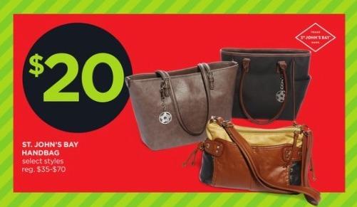 JCPenney Black Friday: St. John's Bay Handbag, Select Styles for $20.00