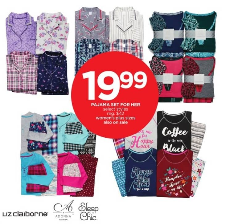 JCPenney Black Friday: Pajama Set for Her by Liz Claiborne, Adonna and Sleep Chic for $19.99