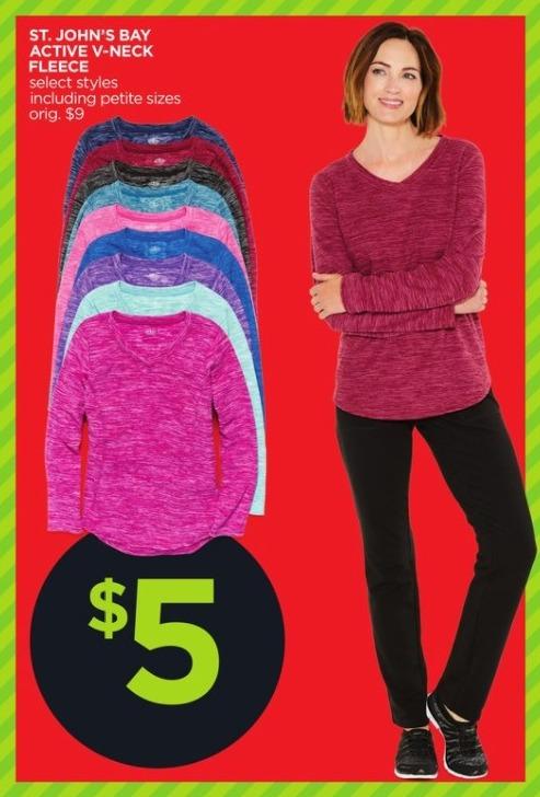 JCPenney Black Friday: St. John's Bay Active Women's V-Neck Fleece, Select Styles for $5.00