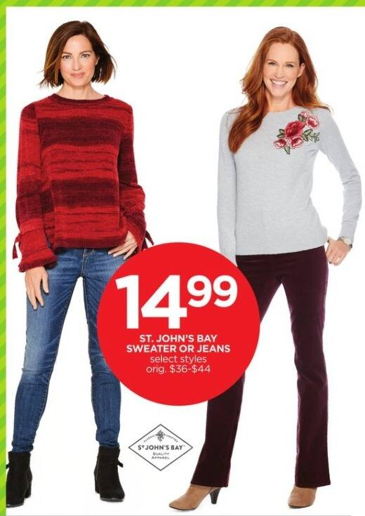 JCPenney Black Friday: St. John's Bay Women's Sweater or Jeans, Select Styles for $14.99