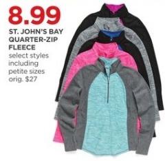 JCPenney Black Friday: St. John's Bay Women's Quarter-Zip Fleece, Select Styles for $8.99