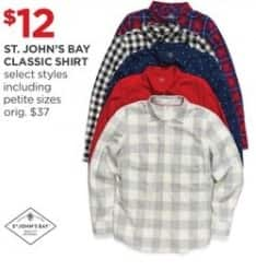 JCPenney Black Friday: St. John's Bay Women's Classic Shirt, Select Styles for $12.00