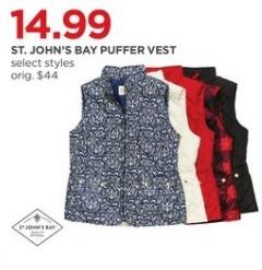 JCPenney Black Friday: St. John's Bay Women's Puffer Vest, Select Styles for $14.99