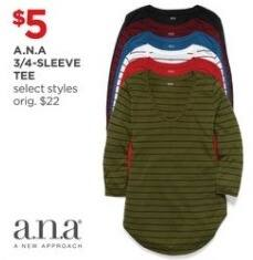 JCPenney Black Friday: A.N.A 3/4-Sleeve Tee for $5.00