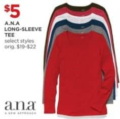 JCPenney Black Friday: A.N.A Long-Sleeve Tee for $5.00