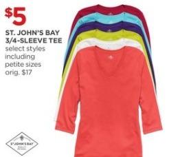 JCPenney Black Friday: St. John's Bay 3/4- Sleeve Tee for $5.00