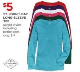 JCPenney Black Friday: St. John's Bay Long-Sleeve Tee for $5.00