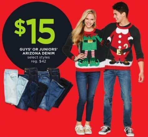 JCPenney Black Friday: Arizona Guys' or Juniors' Denim for $15.00