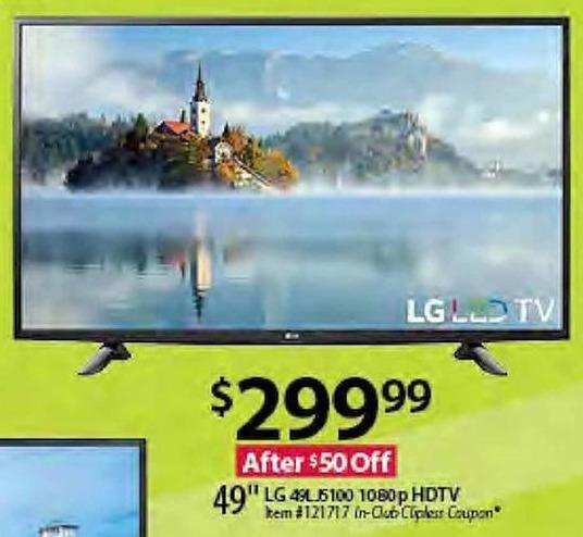 """BJs Wholesale Black Friday: 49"""" LG 49LJ5100 1080p HDTV for $299.99"""
