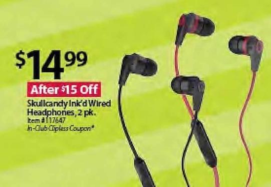 BJs Wholesale Black Friday: Skullcandy Ink'd Wired Headphones, Pack of 2 for $14.99