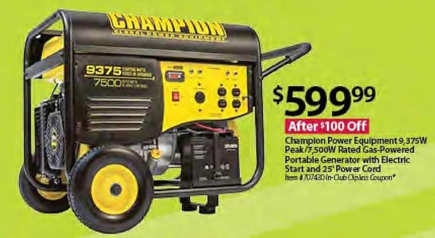 BJs Wholesale Black Friday: Champion Power Equipment Gas-Powered Portable Generator for $599.99