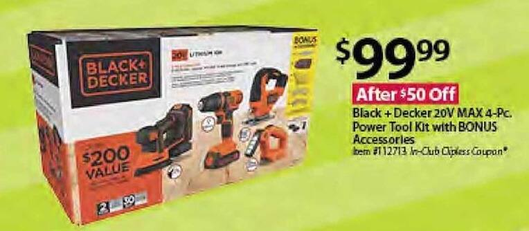 BJs Wholesale Black Friday: Black + Decker 20V Max 4-Piece Power Tool Kit w/Bonus Accessories for $99.99