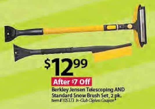 BJs Wholesale Black Friday: Berkley Jensen Telescoping and Standard Snow Brush Set, 2 pack for $12.99