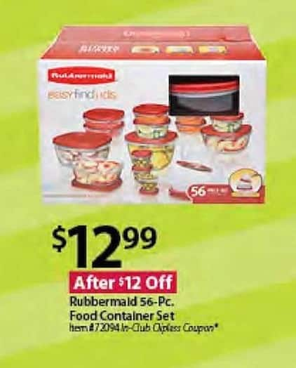 BJs Wholesale Black Friday: Rubbermaid 56-Piece Food Container Set for $12.99