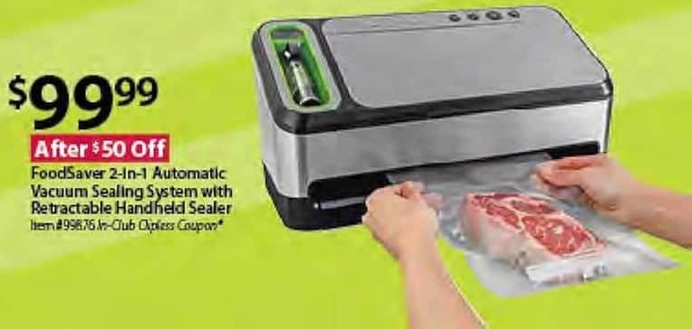 BJs Wholesale Black Friday: FoodSaver 2-in-1 Automatic Vacuum Sealing System w/Retractable Handheld Sealer for $99.99