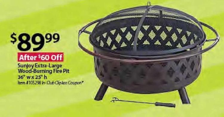 BJs Wholesale Black Friday: Sunjoy Extra-Large Wood-Burning Fire Pit for $89.99