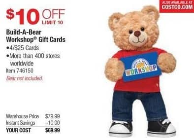 Costco Wholesale Black Friday: (4) $25 Build-A-Bear Workshop Gift Cards for $69.99