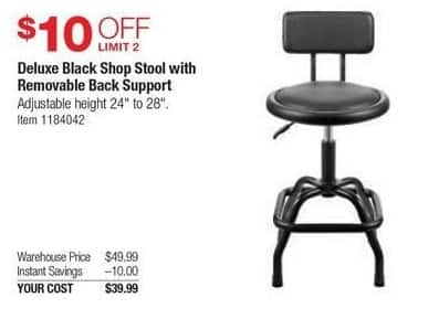 Costco Wholesale Black Friday: Deluxe Black Shop Stool w/Removable Back Support for $39.99