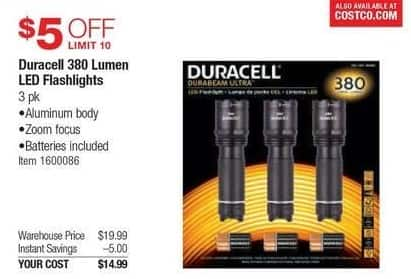 Costco Wholesale Black Friday: Duracell 380 Lumen LED Flashlights for $14.99