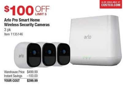 Costco Wholesale Black Friday: Arlo Pro Smart Home Wireless Security Cameras, 3 Pack for $399.99