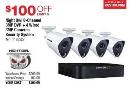 Costco Wholesale Black Friday: Night Owl 8-Channel 3MP DVR and 4 Wired 3MP Cameras Security System for $199.99