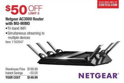 Costco Wholesale Black Friday: Netgear AC3000 Router w/MU-MIMO for $149.99