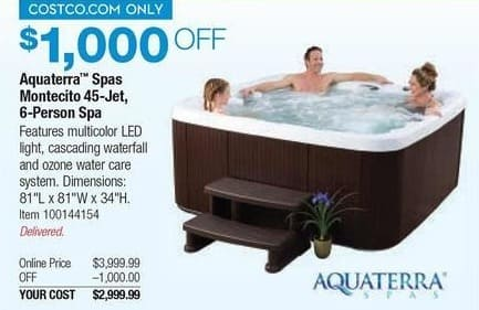 Costco Wholesale Black Friday: Aquaterra Spas Montecito 45-Jet 6-Person Spa for $2,999.99