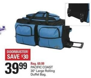 """Shopko Black Friday: Pacific Coast 30"""" Large Rolling Duffel Bag for $39.99"""
