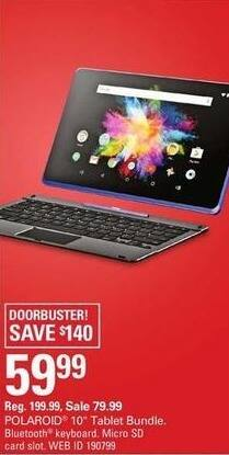 "Shopko Black Friday: Polaroid 10"" Tablet Bundle w/Bluetooth Keyboard and Micro SD Card Slot for $59.99"