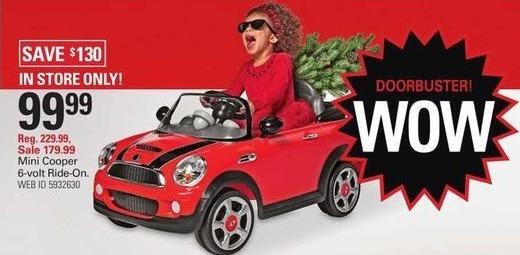 Shopko Black Friday: Mini Cooper 6-Volt Ride-On for $99.99