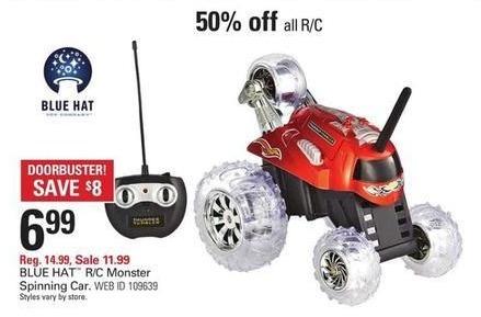Shopko Black Friday: Blue Hat R/C Monster Spinning Car for $6.99