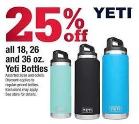 Ace Hardware Black Friday: Entire Stock 18, 26 and 36 oz. Yeti Bottles - 25% Off