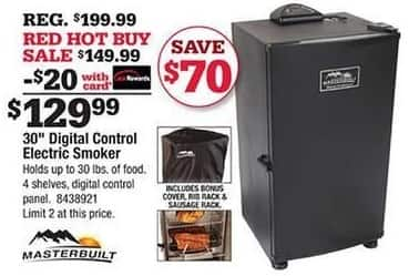 """Ace Hardware Black Friday: Masterbuilt 30"""" Digital Control Electric Smoker w/Card for $129.99"""