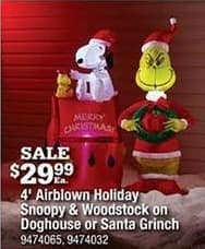 Ace Hardware Black Friday: 4' Airblown Holiday Snoopy and Woodstock on Doghouse or Santa Grinch for $29.99