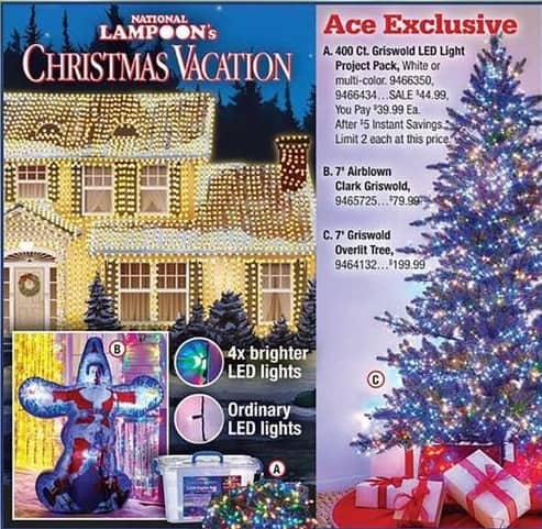 Ace Hardware Black Friday: National Lampoon's Christmas Vacation 400 Count Griswold LED Light Project Pack for $39.99