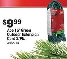 Ace Hardware Black Friday: 2 Pack Ace 15' Green Outdoor Extension for $9.99