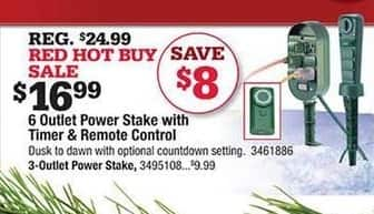 Ace Hardware Black Friday: 6 Outlet Power Stake w/Timer & Remote Control for $16.99