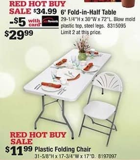 Ace Hardware Black Friday: 6' Fold-in-Half Table w/Card for $29.99