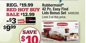 Ace Hardware Black Friday: Rubbermaid 42 Piece Easy Find Lids Bonus Set w/Card for $9.99