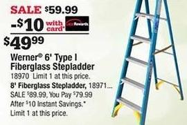 Ace Hardware Black Friday: Werner 6' Type I Fiberglass Stepladder w/Card for $49.99