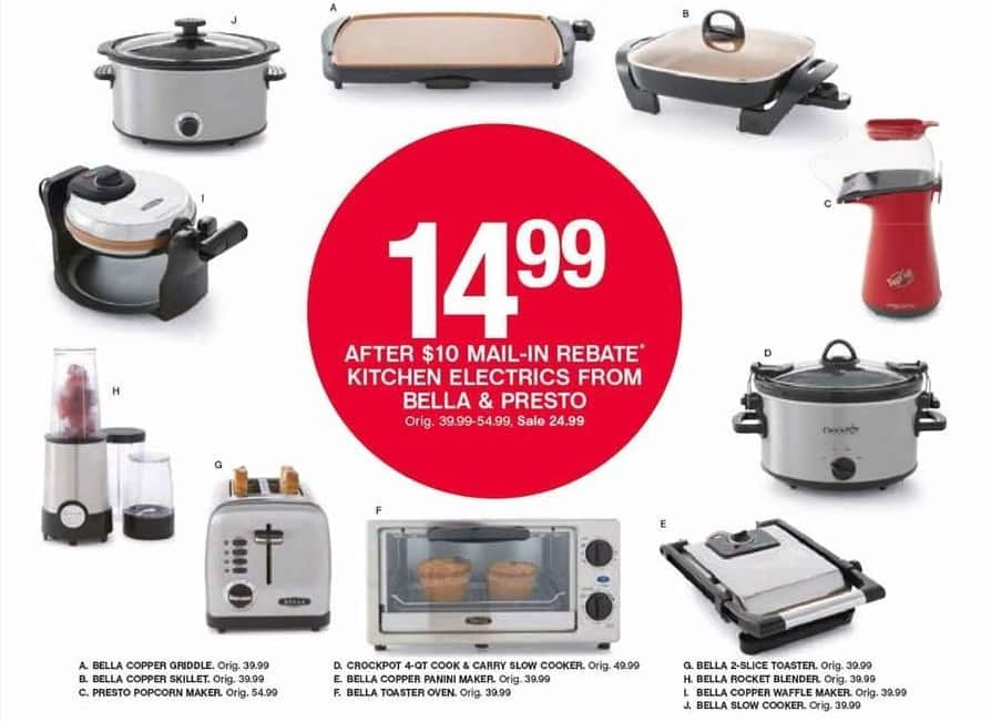 Belk Black Friday: Select Small Appliances: Bella Skillet, Presto Popcorn Maker, Crock-Pot Slow Cooker and More for $14.99 after $10.00 rebate