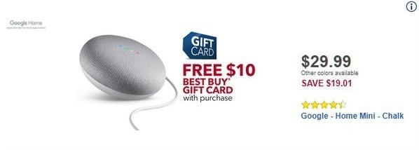 Best Buy Black Friday: Google Home Mini + $10 Best Buy Gift Card for $29.99