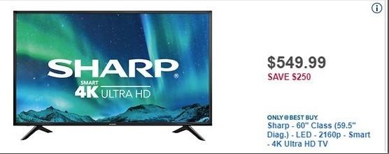"""Best Buy Black Friday: 60"""" Sharp LC-60P6070U 2160p LED 4K Ultra HDTV for $549.99"""