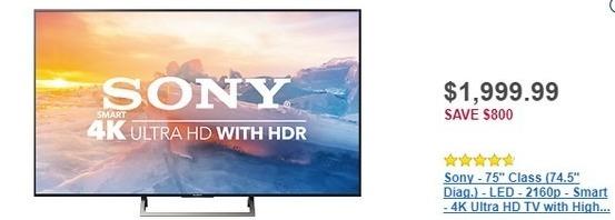 """Best Buy Black Friday: 75"""" Sony XBR75X850E 2160p 4k Ultra HD Smart HDTV for $1,999.99"""