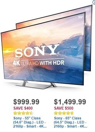 """Best Buy Black Friday: 55"""" Sony XBR55X900E 2160p Smart 4k Ultra HD LED TV for $999.99"""