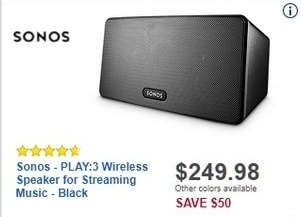 Best Buy Black Friday: Sonos PLAY:3 Wireless Speaker for Streaming Music for $249.98